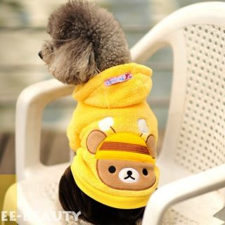 Yellow Bear Bee Coral Fleece Dog Clothes Puppy Pet Hoodie Soft Warm