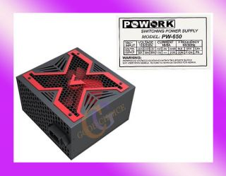 PoWork RED X 650W Max ATX Power Supply w/12cm Fan, 20/24 Pin, SATA NEW