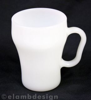 Vintage Fire King White milk glass Coca Cola Style mug coffee cup