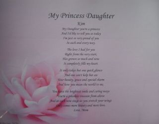 MY PRINCESS DAUGHTER CARD PERSONALIZED POEM BIRTHDAY GIFT IDEA PINK