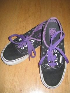 VANS AUTHENTIC SNEAKERS WOMAN 6 SHOES CANVAS DOTS BLACK PURPLE