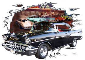 Chevy Bel Air b Custom Hot Rod Diner T Shirt 57, Muscle Car Tees
