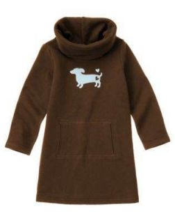 Gymboree GIRLS BEST FRIEND Brown Dachshund Dog Cowl Neck Fleece Dress