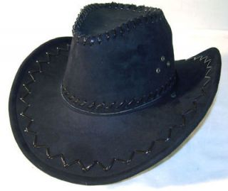 BLACK LEATHER COWBOY HAT mens hats ladies caps womens western headwear