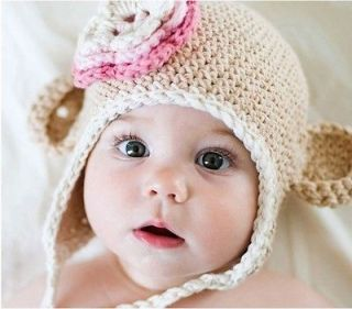 Baby Toddler Handmade Knit Crochet Beanie Hat Cap Photography Tan Xmas