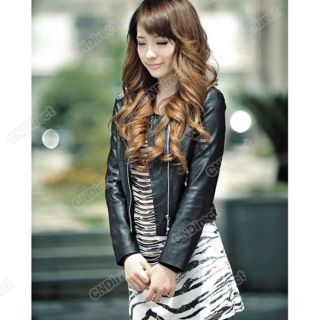 Coat section PU leather Motorcycle jacket Womens Fashion 2 Color