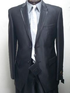 MENS SHINY SLIM FIT BLACK DRESS SUIT SIZE 44L NEW SUIT