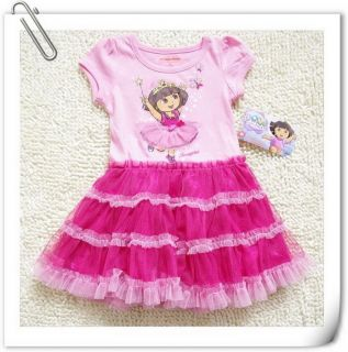 Girls Kids1 7Y Princess Dora Costume Summer Top Fairy Dress Tutu Skirt