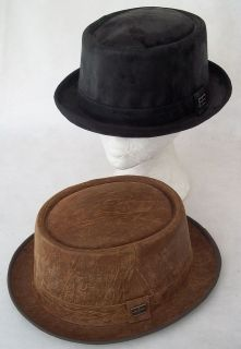 LEATHER PORK PIE HAT BLACK  RUST BROWN DISTRESSED SIZES