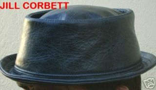 Pork pie hat battered black leather handmade to order XS/S/M/L/XL