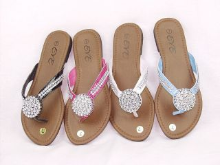 Girls Flip Flops Rhinestone Thongs Sandals Black White Blue Fuchsia
