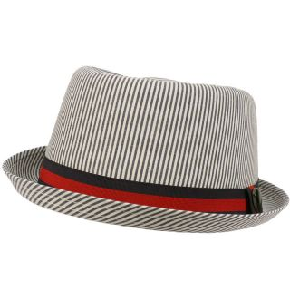 Pinstripe Stripe Cool Pork Pie Fedora Upturn Brim Hat Navy 58cm L/XL