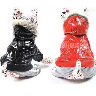 PU leather Hoodie Jacket Coat Jumpsuit puppy Dog pet clothes 5 Size