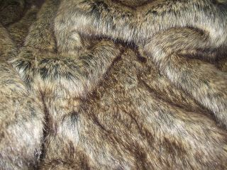 Super Luxury Faux Fur Fabric BROWN WOLF   All Sizes Bulk Discounts