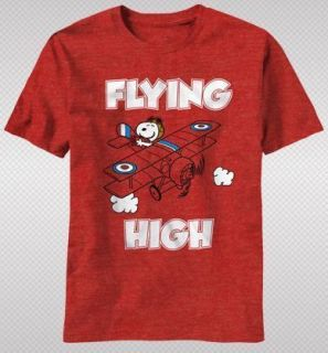 NEW Peanuts Snoopy Airplane Flying Vintage Faded Look Cartoon Adult T