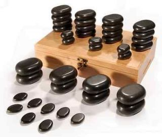 + Basalt Hot Stone Set + 36 PC + Massage Stones Kit W/ Bamboo Box