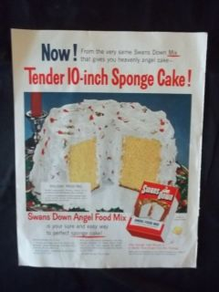 Vintage 1953 Swans Down Angel Food Cake Mix Ad Original Advertising