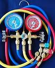 R22 R134a R12 R404a Manifold Gauge+Hose Set+ Car Port Snap on Adapters