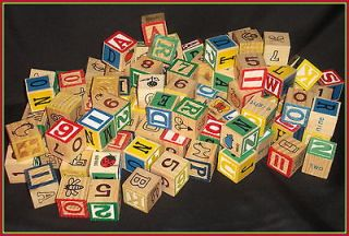 Vintage Mixed Wooden Wood Letter Alphabet ABC Blocks Block Numbers