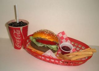 FAKE FOOD DINER CAR HOP  CB/FRIES w/60s WAX COKE CUP
