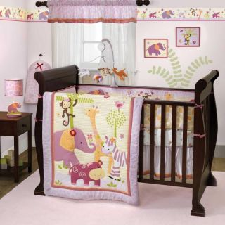 Pink Jungle Safari Baby Girl Nursery Zebra 3pc Zoo Crib Bedding Set