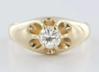 Antique Art Deco 14k Yellow Gold Diamond Tulip Mens Ring Jewelry Pre
