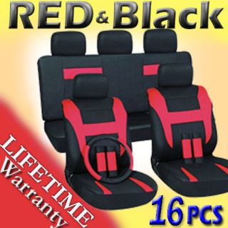 16pc Set Red Black Auto Car Seat Covers FREE Steering Wheel Belt Pads