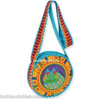 Laurel Burch Cat CrossBody Tote Bag Feline Patch Turquoise Polka Dots