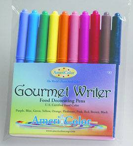 AmeriColor 10 GOURMET WRITER PENS Cake Decorating Color Food Set