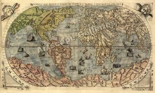 1565 Exploration World Map Large Terra Wall Print 24x40