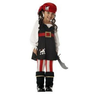 Precious Lil Pirate Costume Bandana Boottops tights Toddler 3 4 4 6
