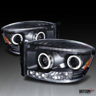 DODGE RAM HALO LED PROJECTOR HEADLIGHTS LH+RH BLACK (Fits 2007 Dodge