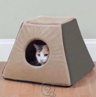 Heated Cat Bed Sage Semi Enclosed w/ Dual Thermostats Plush Fleece