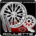 CHROME PERFORMANCE MACHINE ROULETTE WHEELS SINGLE DISK KIT HARLEY FLH