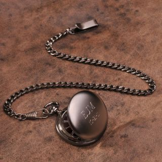 Engravable Gun Metal Pocket Watch Personalized or Free Engraving
