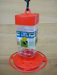 First Nature 32oz Red Plastic Hummingbird Feeder #3055 Easy Clean Base
