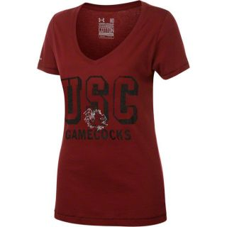 South Carolina Gamecocks Womens Under Armour Charged Cotton V Neck T