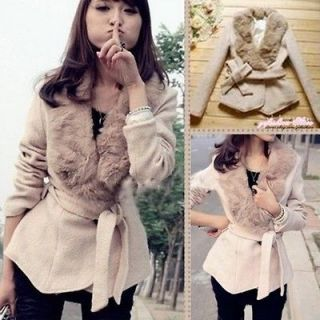 Fashion Korea Women Stylish Woolen Fur Collar Beige Irregular Hem Coat