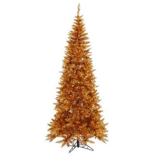 FT GORGEOUS COPPER BRONZE FIR TREE ~CLEAR LIGHTS ~SLIM PRE LIT