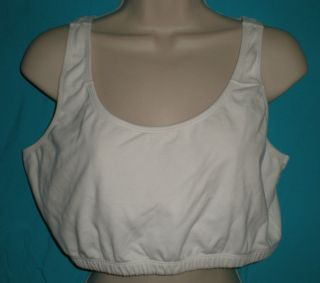 Fruit of the Loom White Stretch Cotton Blend Womens Sports Bra Size 38