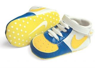 New Soft Sole Baby Boys Yellow/Blue Sneakers Bootees Crib Shoes. Age 0