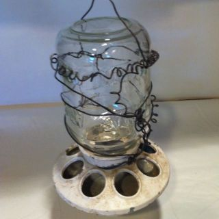 Fab Mason Jar Barn Chicken Feeder Repurpose Bird Hummingbird feeder