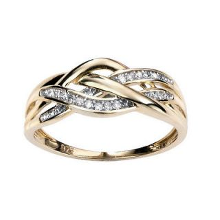 Yellow Gold Diamond 3 Strand Criss Cross Ring