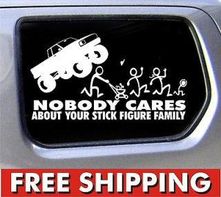 Family Nobody Cares Monster truck funny stickers car decal bumper