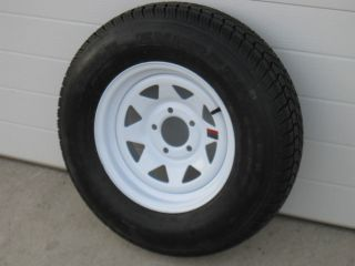 75D14 LRC TRAILER TIRE 14X5.5 5 BOLT WHITE SPOKE WHEEL RIM CAMPER BOAT