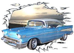 1957 Blue Chevy Bel Air a Custom Hot Rod Sun Set T Shirt 57, Muscle