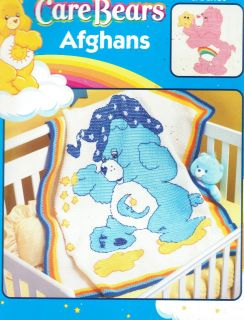 CARE BEARS AFGHANS CROCHET LEISURE ARTS #3789 C2005 BABY BLANKETS