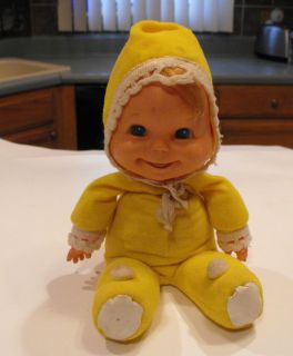 VINTAGE MATTEL BABY BEANS TOY DOLL 1970 FIGURE 11 W/ YELLOW OUTFIT