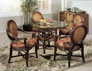 Calama Rattan Wicker Dining Chair Table 5 piece Set