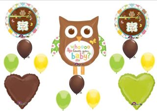 WHOOO Loves You OWL Baby Shower balloons Decorations Supplies Brown